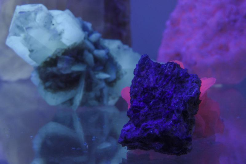 Mátraszentimre, 2019. április 17. Benitoit (j) látható UV-fényben a Mátra Ásványházban Mátraszentimrén 2019. április 17-én. A kõ a világ 10 legritkább ásványa közé tartozik. A múzeum vitrinjeiben közel 1600 ásványt és ásványtársulást, valamint 150 õsmaradványt láthatnak az érdeklõdõk. MTI/Komka Péter