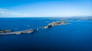 Aerial view. World famous Atlantic road bridge Atlanterhavsvegen in Norway Europe. Norwegian national scenic route. Tourist attraction.
