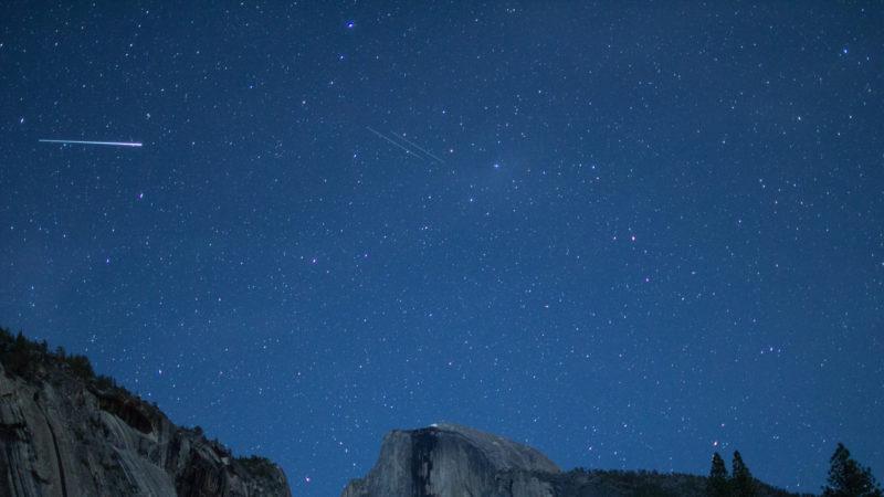 Eta Aquarids fireball and twin meteors over Half Dome, California, Yosemite National Park, Taken 05.14, Copyright David Hoffmann