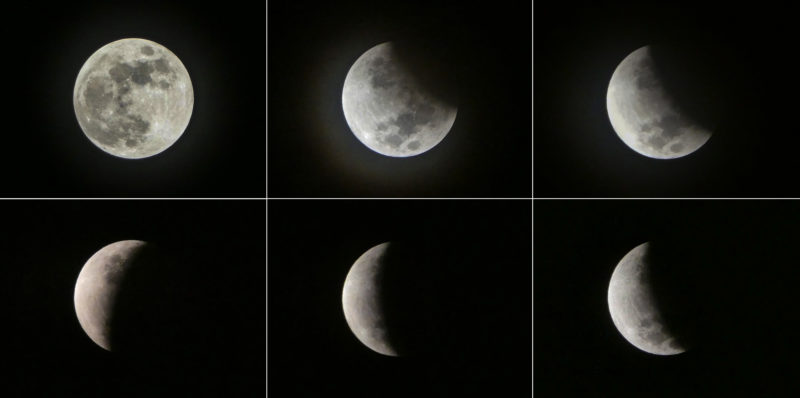 This combination of pictures (clockwise from top-left) shows the moon during different stages of a lunar eclipse as seen from Jakarta on July 17, 2019.The moon is seen during a lunar eclipse in the sky Jakarta, on July 17, 2019. (Photo by BAY ISMOYO / AFP)