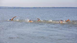 Keszthely, 2019. július 8. A Kis-Pingvin Úszó és Vízilabda Elõkészítõ úszói a keszthelyi kikötõnél 2019. július 8-án, miután elindultak, hogy hosszában, váltásban ússzák át a Balatont Keszthelytõl Balatonakarattyáig. A tizennyolc gyerekbõl és három felnõttbõl álló csapat július 10-én délre tervezi befejezni a 77 kilométeres távot. MTI/Varga György