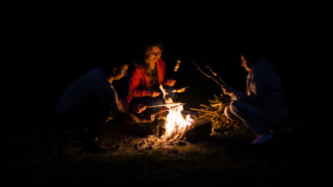 Vinnitsa/Ukraine - 05/27/2018: at night three young friends fry marshmallow at the stake