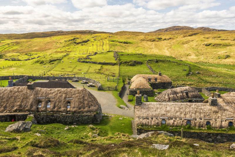 views of Gearrannan Blackhouse village and the surrounding shoreline on the atlantic ocean