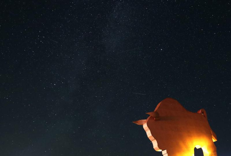 Petkovicsi, 2019. augusztus 12. A Perseidák meteorraj egyik hullócsillaga (k) szeli át a hajnali égboltot a fehéroroszországi Petkovicsi felett 2019. augusztus 12-én. MTI/EPA/Taccjana Zenkovics