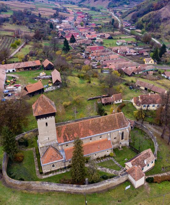 Malancrav fortified church in Transylvania, Romania. Typical Saxon village.