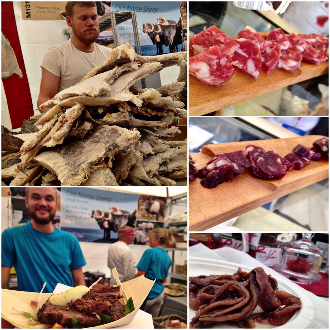 Halak és húsok: norvég sózott-szárított tőkehal, alatta szintén norvég vadjuh-szeletek, jobbra olasz borjúszalámik, illetve fűszeres albán halfalatok.