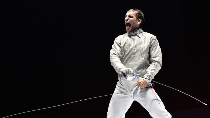 Hungary's Aron Szilagyi reacts after winning  the men's individual sabre final match at the European Fencing Championships in Montreux, Switzerland, on June 8, 2015. AFP PHOTO / FABRICE COFFRINI / AFP PHOTO / FABRICE COFFRINI