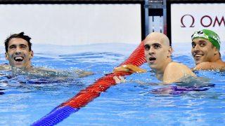 Rio de Janeiro, 2016. augusztus 13. Az amerikai Michael Phelps, Cseh László és a dél-afrikai Chad Le Clos (b-j) a célban a férfi 100 méteres pillangóúszás döntõjében a riói nyári olimpián a Rio de Janeiró-i Olimpiai Uszodában 2016. augusztus 12-én. A három úszó holtversenyben ezüstérmet nyert. MTI Fotó: Illyés Tibor