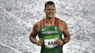 Rio de Janeiro, 2016. augusztus 16.  Baji Balázs a Rio de Janeiró-i nyári olimpiai férfi 110 méteres gátfutásának elõfutamában az Olimpiai Stadionban 2016. augusztus 15-én. Baji Balázs elõfutamában a második helyen ért célba és bejutott az elõdöntõbe. MTI Fotó: Czeglédi Zsolt