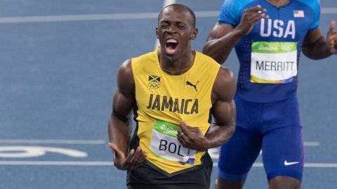 Action photo during the competition Athletics Men's 200m Final at the Olympic Stadium during the Olympic Games Rio 2016, photo :   Foto de accion durante la competencia de Atletismo 200m Final  Masculino en el Estadio Olimpico durante los Juegos Olimpicos de Rio 2016, en la foto: Usain Bolt de Jamaica, Lashawn Merritt de USA  18/08/2016/MEXSPORT/DAVID LEAH