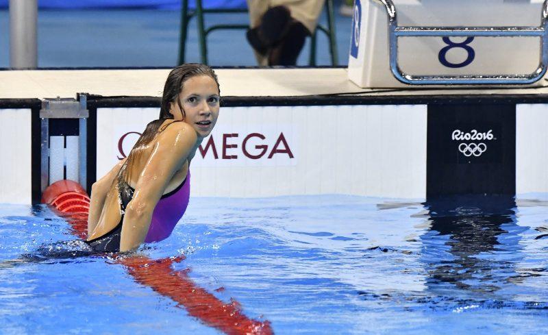 Rio de Janeiro, 2016. augusztus 13. Kapás Boglárka a célban a nõi 800 méteres gyorsúszás döntõjében a riói nyári olimpián a Rio de Janeiró-i Olimpiai Uszodában 2016. augusztus 12-én. A magyar úszónõ a harmadik helyen végzett. MTI Fotó: Illyés Tibor