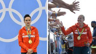 Rio de Janeiro, 2016. augusztus 20.Szurkolók gratulálnak a győztes magyar női kajak négyesnek az 500 méteres verseny eredményhirdetése után a Rio de Janeiró-i nyári olimpián a Rodrigo de Freitas Lagúnában 2016. augusztus 20-án. Az aranyérmes női kajaknégyes megvédte olimpiai bajnoki címét. Jobbra Kozák Danuta.MTI Fotó: Kovács Tamás