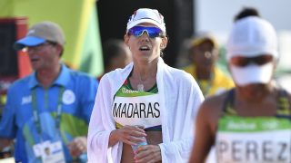 Rio de Janeiro, 2016. augusztus 19. Madarász Viktória a célban a Rio de Janeiró-i nyári olimpia nõi 20 kilométeres gyaloglásában 2016. augusztus 19-én. MTI Fotó: Czeglédi Zsolt