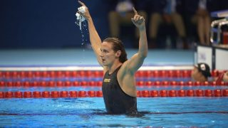 Swimming: 2016 Summer Olympics: Hungary Katinka Hosszu victorious after winning the Women's 400m Individual Medley at the Olympic Aquatic Center. Hosszu set a new world record in the event.  Rio de Janeiro, Brazil 8/6/2016 CREDIT: Donald Miralle (Photo by Donald Miralle /Sports Illustrated/Getty Images) (Set Number: SI83 TK1 )