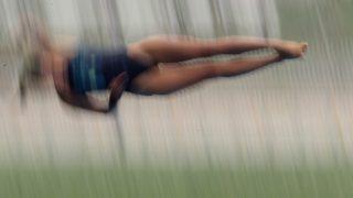 Sanghaj, 2011. július 20. A magyar KORMOS Villõ Gyöngyvér versenyez a nõi toronyugrás selejtezõjében a 14. FINA vizes világbajnokságon Sanghajban. (MTI/EPA/Kim Ludbrook)