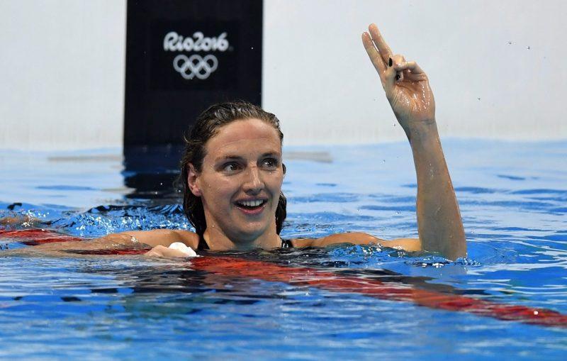 Rio de Janeiro, 2016. augusztus 7. Hosszú Katinka, miután új világcsúccsal megnyerte a 2016-os riói nyári olimpia 400 méteres vegyesúszás versenyszámának döntõjét a Rio de Janeiró-i Olimpiai Uszodában 2016. augusztus 6-án. (MTI/EPA/Bernd Thissen)