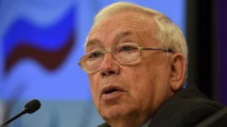 Russian Paralympic Committee president Vladimir Lukin speaks during a press conference in Moscow on August 24, 2016. A ban on Russian athletes competing in the Rio Paralympics was upheld on August 23, 20146, triggering anger in Moscow after the country lost an appeal against their exclusion over a vast, state-run doping programme. The Court of Arbitration for Sport (CAS) dismissed an appeal filed by the Russian Paralympic Committee, which sought to overturn the August 7 ban by the International Paralympic Committee (IPC).  / AFP PHOTO / VASILY MAXIMOV