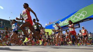 Rio de Janeiro, 2016. augusztus 14. Rajtol a nõi maratonfutás mezõnye a riói nyári olimpián a Rio de Janeiró-i Szambasétányon 2016. augusztus 14-én. A sétány a riói karneváli felvonulás helyszíne. MTI Fotó: Czeglédi Zsolt