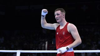 Ireland's Michael O'Reilly reacts after winning the boxing men's middle (75kg) event at the Baku 2015 European Games in Baku June 27, 2015. AFP PHOTO / TOBIAS SCHWARZ / AFP PHOTO / TOBIAS SCHWARZ