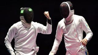 Rio de Janeiro, 2016. augusztus 14. Somfai Péter (b) és az ukrán Anatolij Herej asszója a férfi párbajtõrözõk csapatversenyének Magyarország - Ukrajna bronzmérkõzésén a riói nyári olimpián a 3-as Karióka Arénában 2016. augusztus 14-én. MTI Fotó: Illyés Tibor