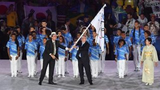 2919031 08/21/2016 From left: Rio de Janeiro Mayor Eduardo Paes, International Olympic Committee President Thomas Bach and Tokyo Governor Yuriko Koike during the handing over of the Olympic flag at the closing ceremony of the XXXI Olympic Summer Games. Alexey Kudenko/Sputnik