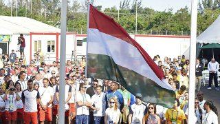 Rio de Janeiro, 2016. augusztus 4.Felvonják a nemzetiszínű lobogót a magyar csapat hivatalos fogadóünnepségén a Rio de Janeiró-i olimpiai faluban 2016. augusztus 4-én, egy nappal a riói nyári olimpia kezdete előtt.MTI Fotó: Kovács Tamás
