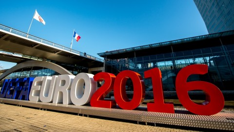 """A picture taken on February 3, 2016, shows giant letters reading """"UEFA EURO 2016"""" in Lille, northern France, where some of the Euro 2016 football matches will take place. The upcoming UEFA Euro 2016 European football championship will take place in France from June 10 to July 10, 2016. / AFP PHOTO / PHILIPPE HUGUEN"""
