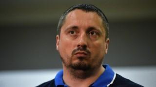 2875952 06/18/2016 Alexander Shprygin, head of the National Fans' Association, answers journalists' questions at Sheremetyevo Airport. Eugene Odinokov/Sputnik