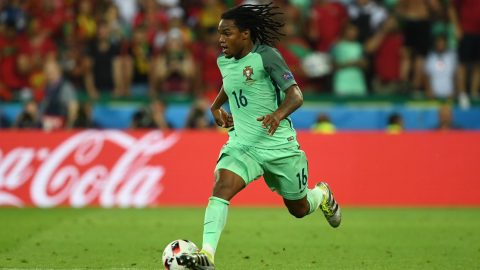 Renato Sanches of Portugal in action during the UEFA EURO 2016 semi final soccer match between Portugal and Wales at the Stade de Lyon in Lyon, France, 06 July 2016. Photo: Arne Dedert/dpa (RESTRICTIONS APPLY: For editorial news reporting purposes only. Not used for commercial or marketing purposes without prior written approval of UEFA. Images must appear as still images and must not emulate match action video footage. Photographs published in online publications (whether via the Internet or otherwise) shall have an interval of at least 20 seconds between the posting.)