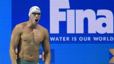 Budapest, 2017. július 25. Kozma Dominik a férfi 200 méteres gyorsúszás döntõje elõtt a 17. vizes világbajnokságon a Duna Arénában 2017. július 25-én. MTI Fotó: Kovács Tamás
