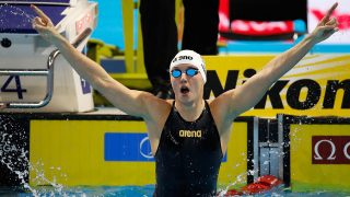 WINDSOR, CANADA - DECEMBER 11:  Katinka Hosszu of Hungary celebrates her victory in the 100m Butterfly final on day six of the 13th FINA World Swimming Championships (25m) at the WFCU Centre on December 11, 2016 in Windsor Ontario, Canada.  (Photo by Gregory Shamus/Getty Images)
