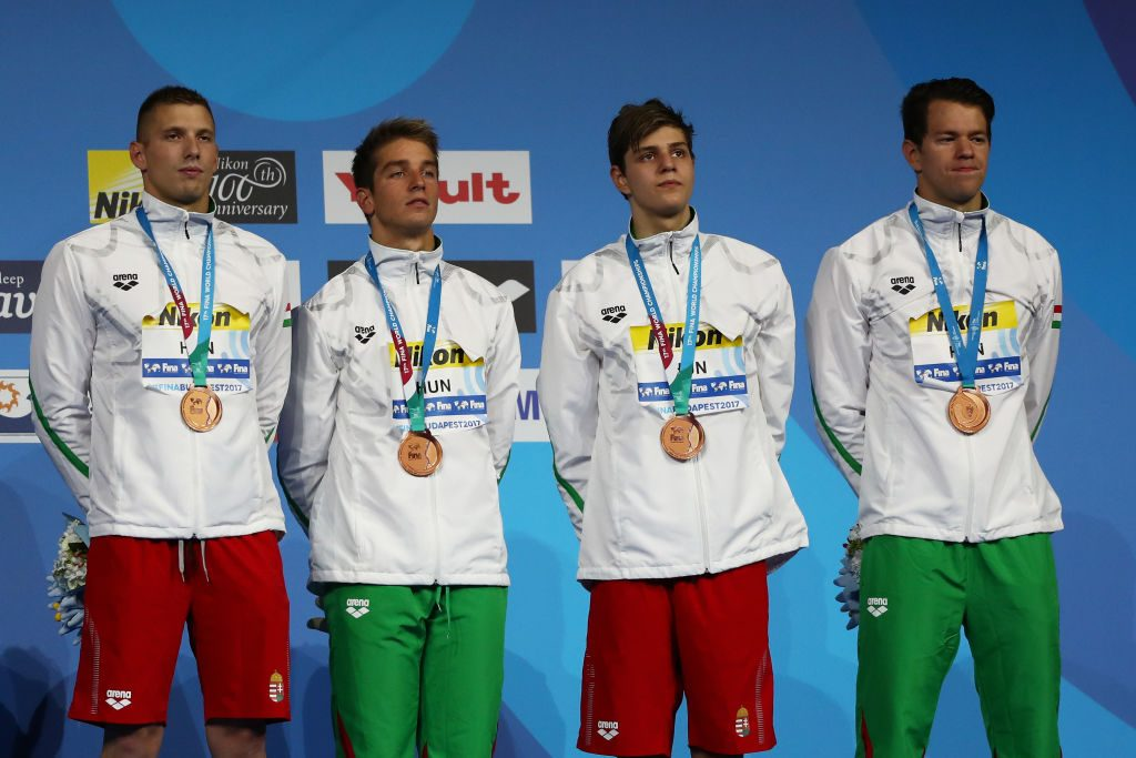 BUDAPEST, HUNGARY - JULY 23:  Team Hungary celebrate winning Bronze in the Men's 4x100m Freestyle Final on day ten of the Budapest 2017 FINA World Championships on July 23, 2017 in Budapest, Hungary  (Photo by Al Bello/Getty Images)