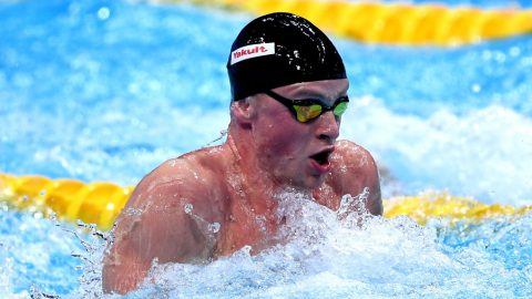BUDAPEST, HUNGARY - JULY 25:  Adam Peaty of Great Britain competes during the Men's 50m Breaststroke final two on day twelve of the Budapest 2017 FINA World Championships on July 25, 2017 in Budapest, Hungary.  (Photo by Laurence Griffiths/Getty Images)