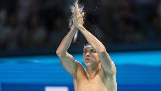 Budapest, 2017. július 30. A második helyezett Verrasztó Dávid a férfi 400 méteres vegyesúszás döntõje után a 17. vizes világbajnokságon a Duna Arénában 2017. július 30-án. (MTI/EPA/Patrick B. Krämer)