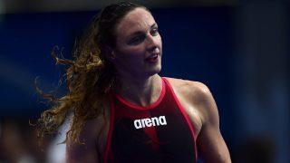 Budapest, 2017. július 23. Hosszú Katinka a nõi 200 méteres vegyesúszás elõfutama után a 17. vizes világbajnokságon a Duna Arénában 2017. július 23-án. MTI Fotó: Kovács Tamás