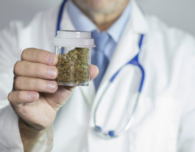 close up of Doctors hands holding medical marijuana