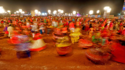 Indian men and women perform Garba & Dandiya dance during the Navratri festival 'nine days' celebration in Jaipur,Rajasthan,India on Oct 14,2018.Dandiya Raas is the traditional folk dance form of Gujarat & Rajasthan India, and is associated with scenes of Holi, and Lila of Krishna and Radha at Vrindavan. Along with Garba, it is the featured dance of Navratri evenings in Western India. During Navratri festival, in most of the cities of Gujarat & Rajasthan, people gather and perform Garba and Dandiya dance - an event that is becoming increasingly popular in countries with large Gujarati-speaking communities.(Photo By Vishal Bhatnagar/NurPhoto) (Photo by Vishal Bhatnagar/NurPhoto)