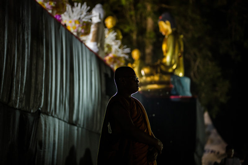 MAGELANG, CENTRAL JAVA, INDONESIA - MAY 18: Buddhist monks at Borobudur temple during celebrations for Vesak Day on May 18, 2019 in Magelang, Central Java, Indonesia. Buddhists in Indonesia celebrate Vesak at the Borobudur temple annually, which makes it the most visited tourist attraction in Indonesia. It is observed during the full moon in May or June, with the ceremony centered at three Buddhist temples by walking from Mendut to Pawon and ending at Borobudur. The stages of life of Buddhism's founder, Gautama Buddha, which are celebrated at Vesak are his birth, enlightenment to Nirvana, and his passing (Parinirvana). (Photo by Ulet Ifansasti/Getty Images)