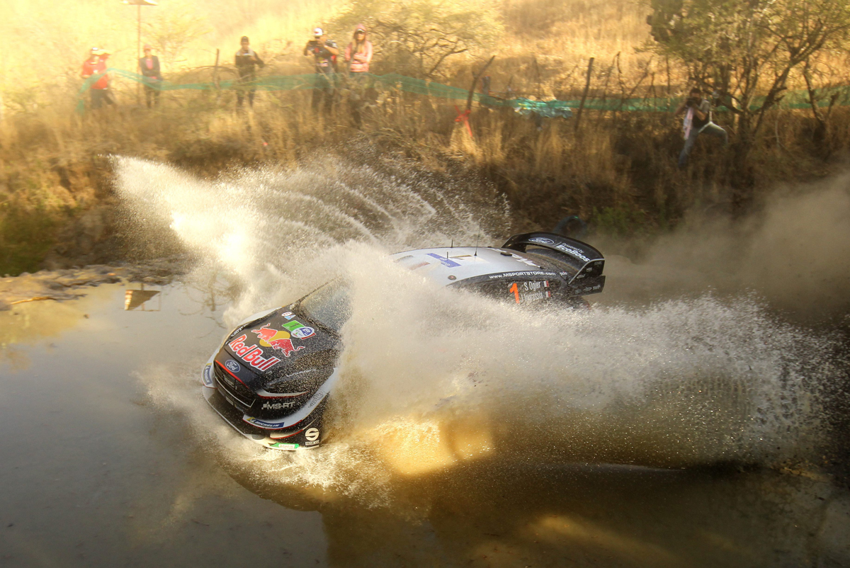 French Sebastian Ogier and co-driver Julien Ingrassia steer their Ford Fiesta WRC during the second day of the 2018 FIA World Rally Championship in Leon, Guanajuato state, Mexico, on March 10, 2018. / AFP PHOTO / ULISES RUIZ