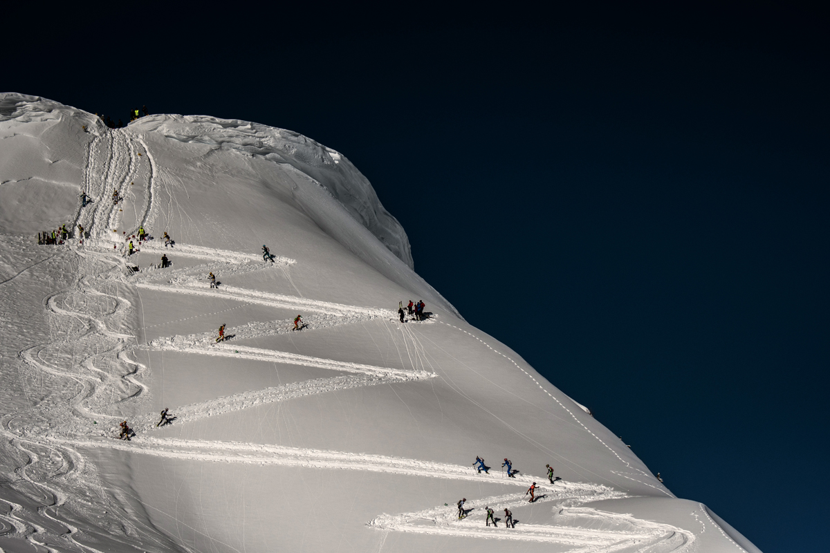 Skiers compete on March 14, 2018 during the first stage of the 33rd edition of the Pierra Menta ski mountaineering competition in Areches-Beaufort.  / AFP PHOTO / JEFF PACHOUD