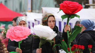GROZNY, RUSSIA - MARCH 7, 2018: Women sell flowers at a market in central Grozny, Chechnya ahead of International Women's Day. Yelena Afonina/TASS (Photo by Yelena AfoninaTASS via Getty Images)