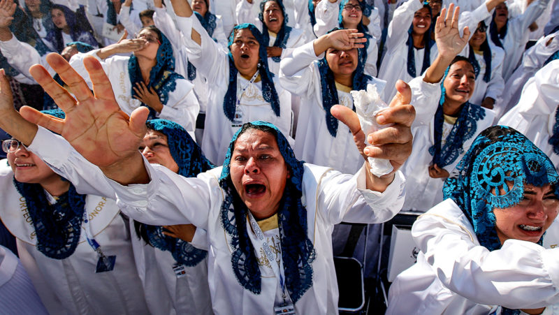 """Faithful take part in the 2018 annual Holy Convocation of """"La Luz del Mundo"""" (The Light of the World) church on August 14, 2018, in Guadalajara, Jalisco state, Mexico, where its headquarters are located. / AFP PHOTO / Ulises Ruiz"""