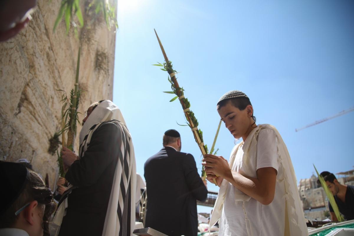 zsidó férfiak négy növényből összeállított csokorral a kezükben imádkoznak az Egyiptomból való kivonulás utáni negyven éves pusztai vándorlás emlékére tartott szukkot, azaz a sátrak ünnepén a jeruzsálemi Siratófalnál szeptember 26-án. Az ünnep négy szimbóluma, a citrusfélék, a mirtusz, a fűzfa- és pálmaágak azt az isteni ajándékot szimbolizálják, amelyet a zsidók az egyiptomi kivonulás idején kaptak. Mostafa Alkharouf / Anadolu Agency
