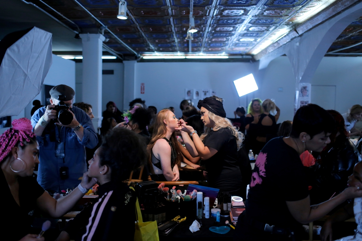 """Model Madeline Stuart, who has Down's syndrome, is prepared backstage before walking in the Lulu Et Gigi presentation at New York Fashion Week in New York City, U.S., September 9, 2018. REUTERS/Andrew Kelly  SEARCH """"MODEL MADELINE"""" FOR THIS STORY. SEARCH """"WIDER IMAGE"""" FOR ALL STORIES.  TPX IMAGES OF THE DAY.  THE IMAGES SHOULD ONLY BE USED TOGETHER WITH THE STORY - NO STAND-ALONE USES"""