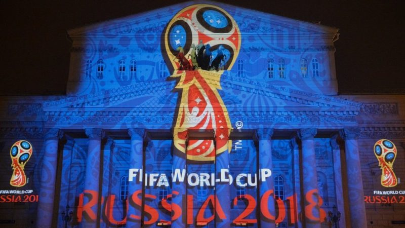 MOSCOW, RUSSIA - OCTOBER 28: The 2018 FIFA World Cup Russia Official Emblem was unveiled on October 28, 2014 in Moscow, Russia. The light projection of the tournament's Official Emblem is seen at the building of the Bolshoi Theatre. (Photo by Dmitry Lebedev/Kommersant Photo via Getty Images)