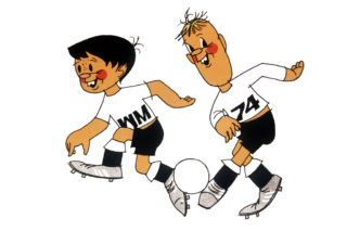 Tip and Tap are the two mascots the DFB is using since 1971 to promote the 1974 FIFA World Cup in Germany. There are 10 different Tip and Tap themes, created by illustrator Horst Schaefer. (undated archive photograph)