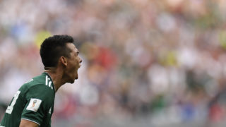 Mexico's forward Hirving Lozano celebrates after scoring a goal during the Russia 2018 World Cup Group F football match between Germany and Mexico at the Luzhniki Stadium in Moscow on June 17, 2018. / AFP PHOTO / Patrik STOLLARZ / RESTRICTED TO EDITORIAL USE - NO MOBILE PUSH ALERTS/DOWNLOADS