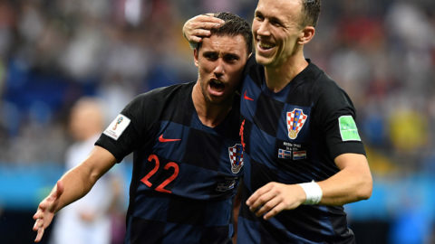 Croatia's defender Josip Pivaric celebrates after a goal during the Russia 2018 World Cup Group D football match between Iceland and Croatia at the Rostov Arena in Rostov-On-Don on June 26, 2018. / AFP PHOTO / JOE KLAMAR / RESTRICTED TO EDITORIAL USE - NO MOBILE PUSH ALERTS/DOWNLOADS