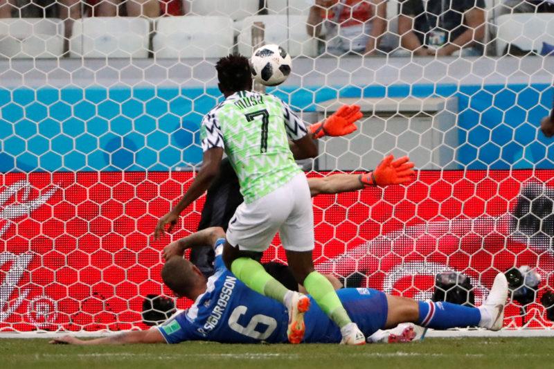 Soccer Football - World Cup - Group D - Nigeria vs Iceland - Volgograd Arena, Volgograd, Russia - June 22, 2018   Nigeria's Ahmed Musa scores their first goal     REUTERS/Jorge Silva