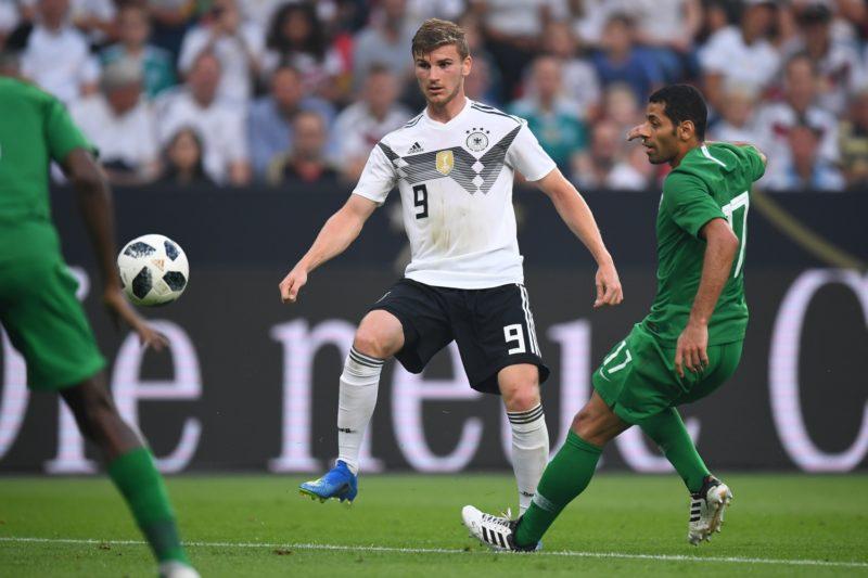 Timo Werner (Germany) (L) versus Taiseer Al-Jassam (Saudi Arabia) (R) GES / Football / Test Match: Germany - Saudi Arabia, 08.06.2018 Football / Soccer: Test Match: Germany, vs. Saudi Arabia, Leverkusen, June 8, 2018 | usage worldwide